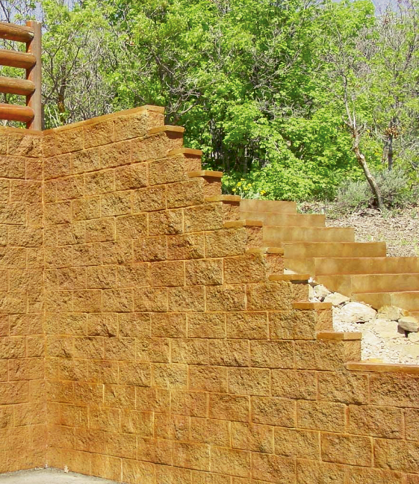 This retaining wall also incorporates steps.