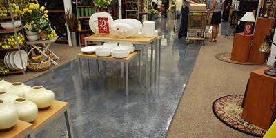 Metallic epoxy was added to this show room floor to add a visually appealing space.