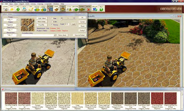 Using software to show what your space would look like with decorative concrete applications.
