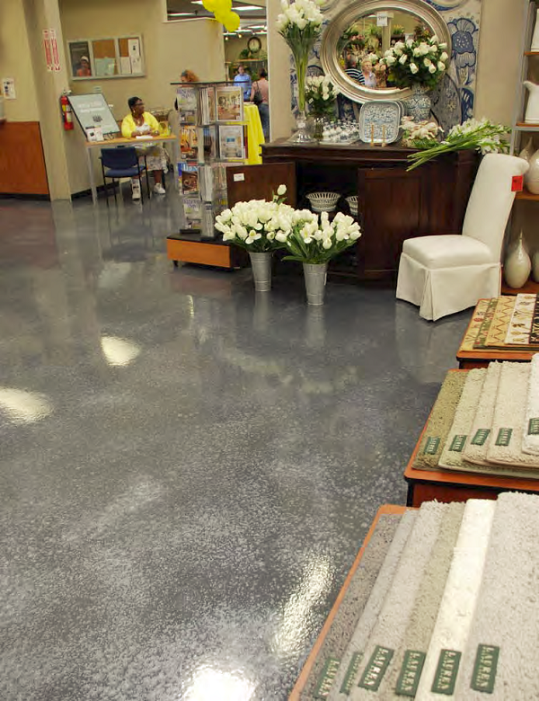 Metallic flakes give depth and richness to the Design Center's floors.