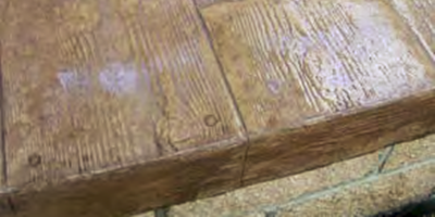 This woodplank concrete was sealed with a water-based sealer..