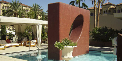 Large structure in a pool that was created by rebar and shotcrete techniques.