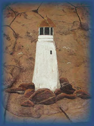 An upclose view of a lighthouse that was painted on the concrete patio.