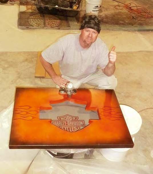 Bob Harris shows his final product having used Preitech product to create the Harley Davidson Logo.