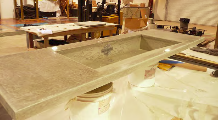 A concrete sink that was formed with Preitech products.