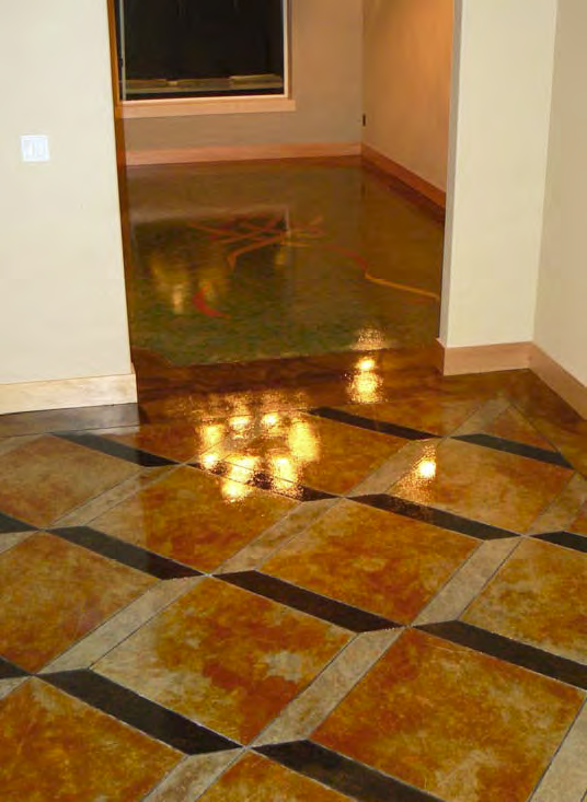 Nearly every floor in this concrete home had a unique finish. Here we see a stained concrete floor with a 3D effect.
