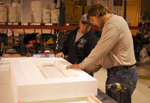 Bob Harris and Michael Eastergard discuss their next step in concrete countertop forming.