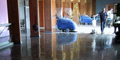 The autoscrubbers were used on this concrete floor.