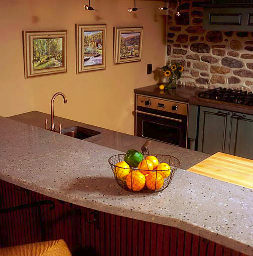 Kitchen countertop with bar and a curved edge.