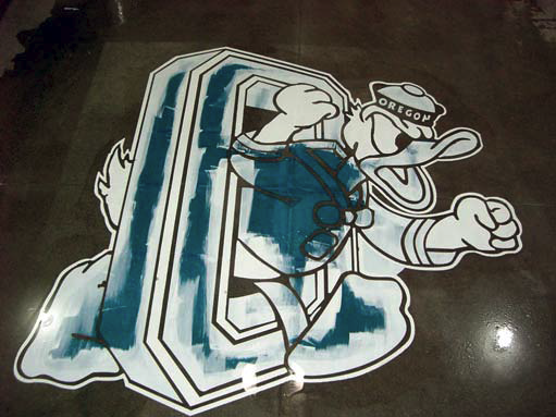 Oregon Duck logo using concrete stencils process photo