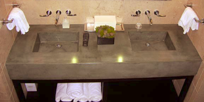 Concrete double sink in sleek modern gray