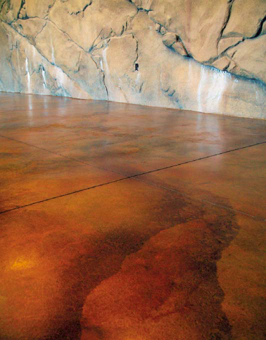 A look at the chemical reaction of the acid stain on concrete.