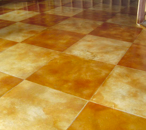 Acid stained concrete checkerboard space.
