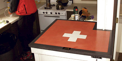 Concrete countertop with the emblem of emergency response.