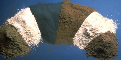 Pozzolans vary widely in color. Shown here, left to right, are fly ash, metakaolin, silica fume, fly ash, slag and calcined shale.