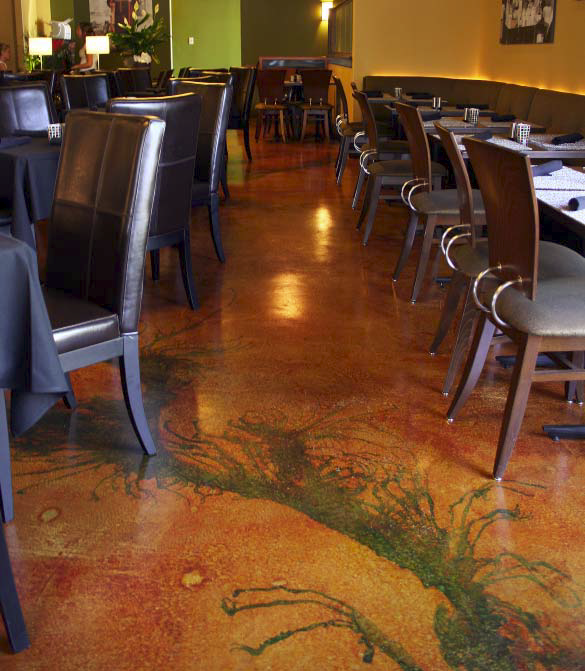 This dragon-tail restaurant floor was created with Butterfield Elements Water-based Stains, including Cordovan Leather for the floor and Verdigris for the dragon tail.