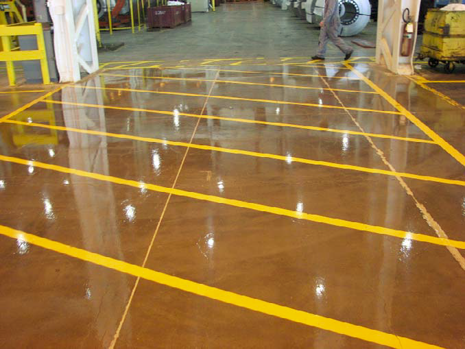 Lines are easily achieved with RapidShield as seen in his floor with yellow no parking lines.