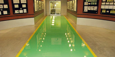 RapidShield product placed in green and yellow in this corridor.