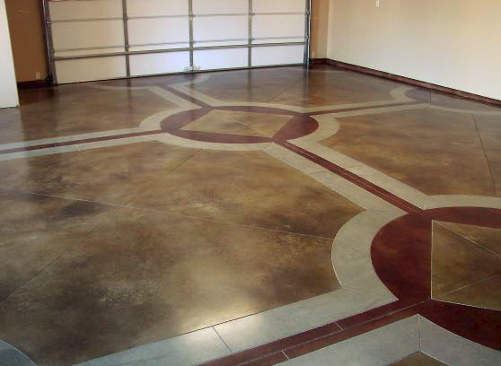A garage floor with browns, reds and whites bring a lifeless room a new look.