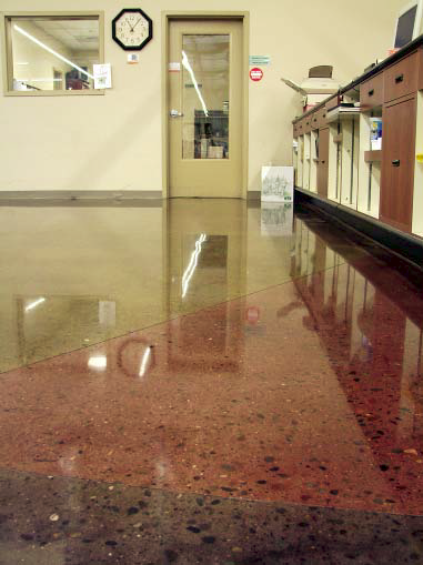 This polished concrete floor has been made to have a high-gloss and is sealed to keep it glowing.