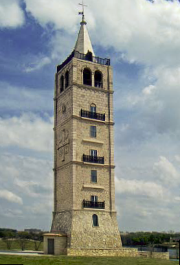 The tower is the centerpiece of Adriatica, a new residential development in McKinney, Texas, built to look like a 15th century seaside Croatian village. The 128-foot structure is modeled after one in Supetar, Croatia, and has three working bells.