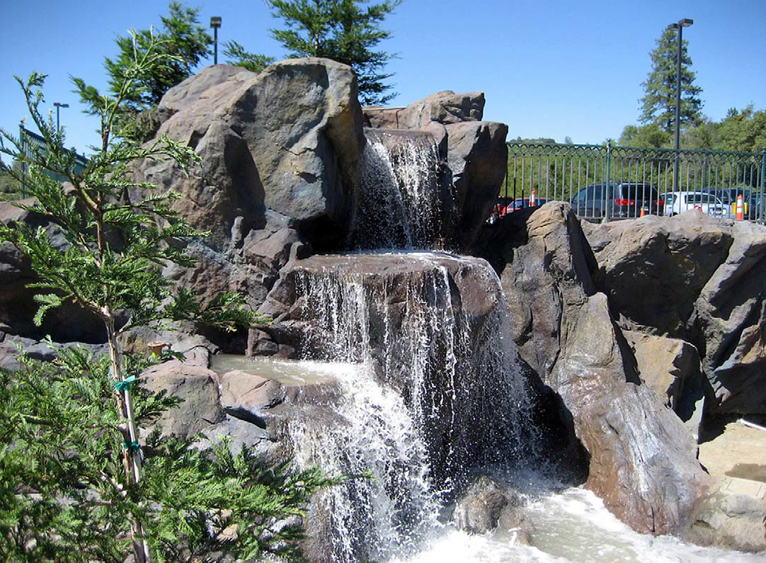 This three-tiered waterfall at the Jackson Rancheria Casino & Hotel in Jackson, Calif., spills into a whitewater stream that flows to a large pond.