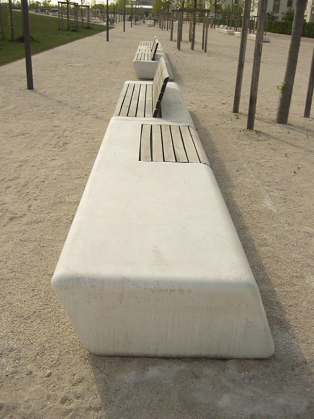 These benches in a park in Frankfurt, Germany, were fashioned with premixed GFRC, a mix that can also be used to make countertops.