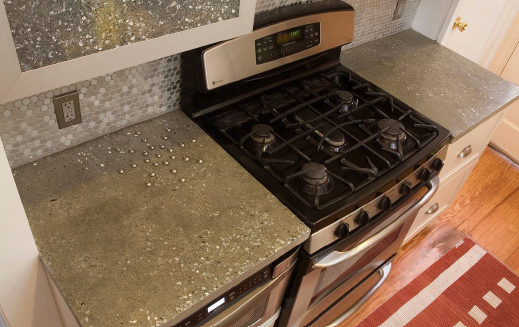 Delicieux A 1/2 Inch Thick Countertop Made With Integral Color And Recycled Glass  Aggregate