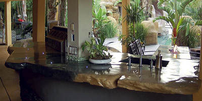 An indoor/outdoor concrete countertop.
