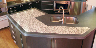 A concrete countertop that was made with CSA cement.