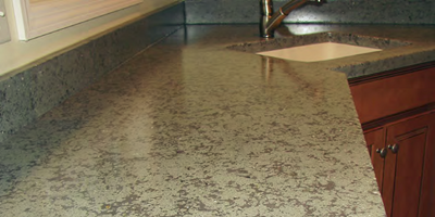 Gray concrete countertop with a hand-crafted finish.