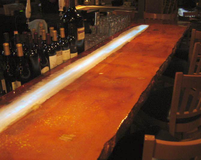 Countertop at a cafe in Virginia Beach shows the rustic edge form that was created.