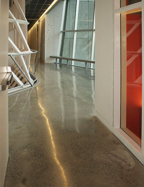Concrete floors at The Cooper Union, a top architecture and engineering college in New York City, were treated with Prosoco Consolideck LS lithium-silicate hardener/densifier and polished up to an 800-grit resin finish. Steve Zito, Industrial Floorworks, Oceanside, N.Y., did the work.