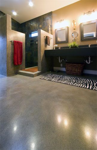 A look at a bathroom made of concrete.