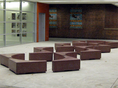 Justin Hawkins and his Lincoln, R.I., outfit, Livingstone Studios, sent us these photos of arrangable cast concrete benches they created for the Rhode Island School of Design's Chace Center.