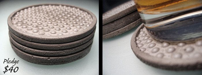 Cast concrete coasters