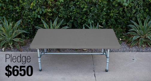 A concrete table that is promised to those that pledge $650