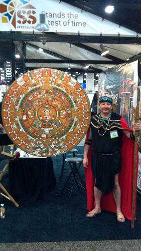 An Aztec calendar created and stained by SS Specialties.