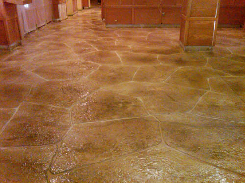 The finished floor in the Sugar Loaf Ski Resort that was renovated with a stampable overlay.