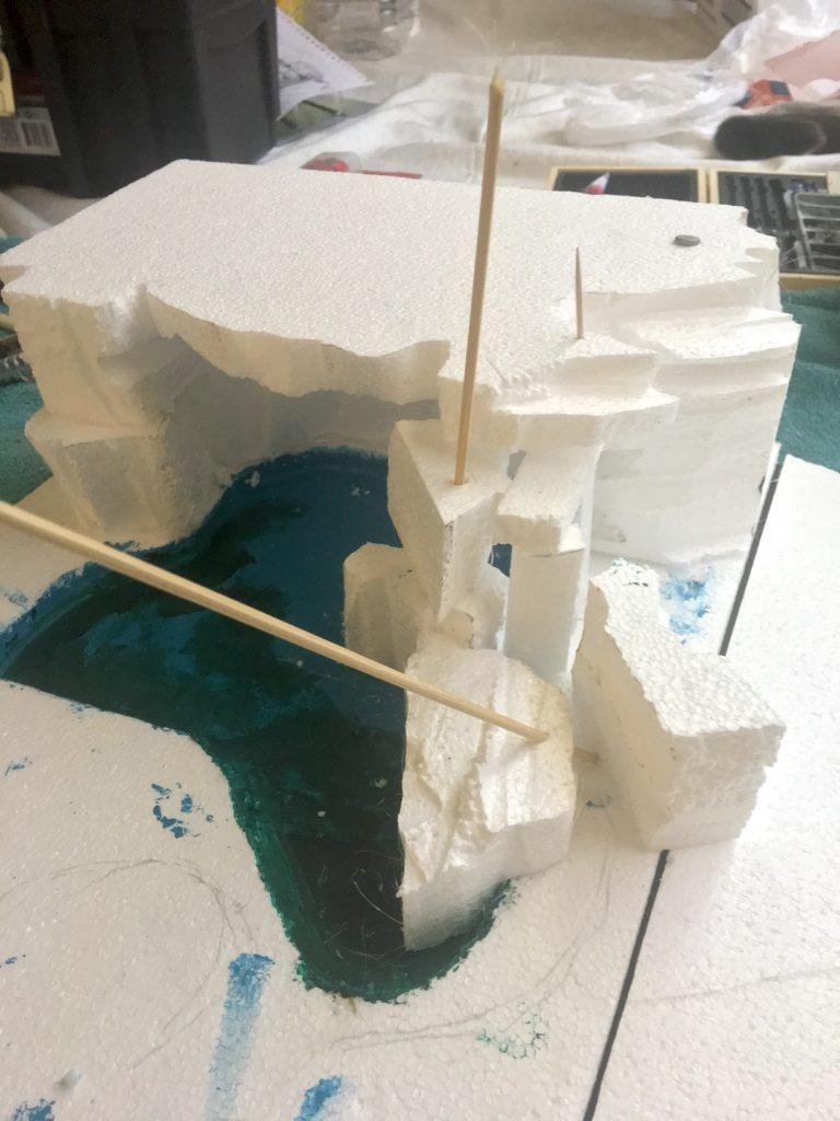vertical concrete artistry step 1 of miniature model