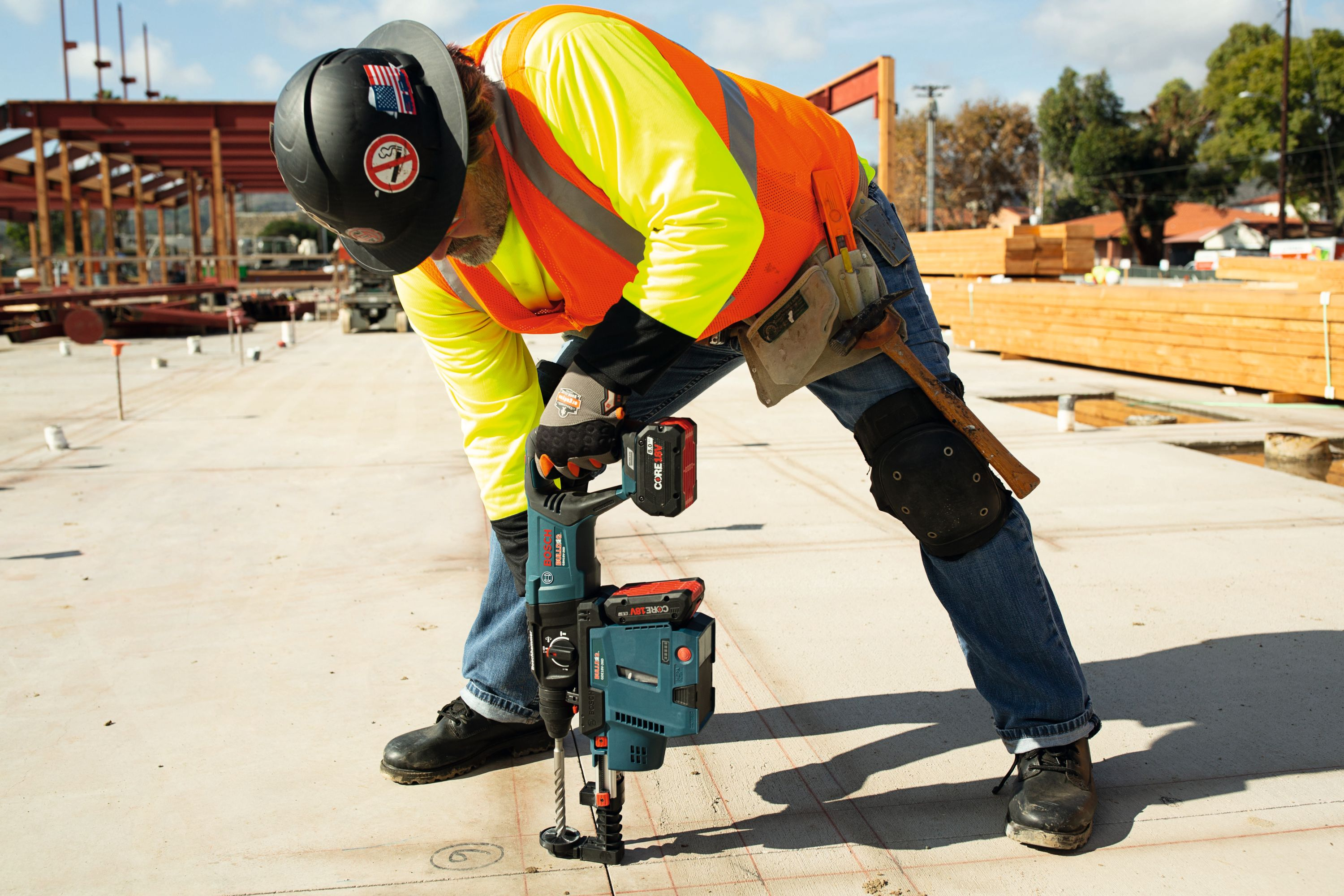 The Bosch GBH18V-26D Bulldog rotary hammer features a variable-speed reversing trigger for accurate bit starting.