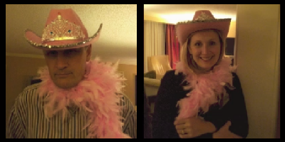 Bent and Sheri Mikkelsen in pink hat and boa.