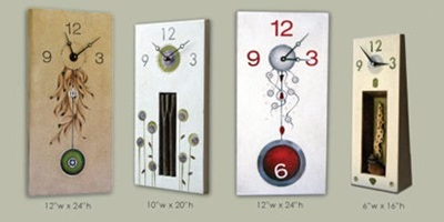 Concrete clocks that have decorative elements included.