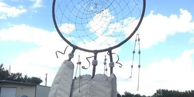 Concrete dreamcatcher in place