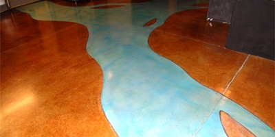 these photos of a river he carved through an acid-stained floor using two brands of water-based stain from NewLook International.