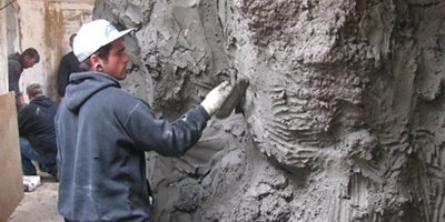Carving vertical concrete at the West Coast Training Center in Oregon.