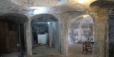 Inside the underground concrete house.