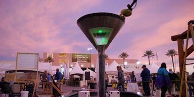A larger than life martini glass made of concrete at twilight in Las Vegas.