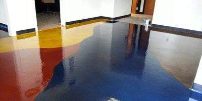 Color-crazy Concrete Floors at The Stain Store in Austin, Texas