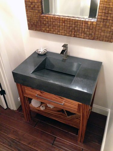 "People's Choice Award Winner ""Zebrawood Vanity and Sink"" by Andrew Seaman Concrete Mix: CHENG Countertop Pro-Formula Color: Charcoal Project Location: Maryland"